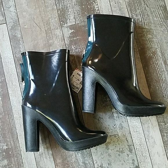 Zara Black Rubber Heeled Ankle Bootie